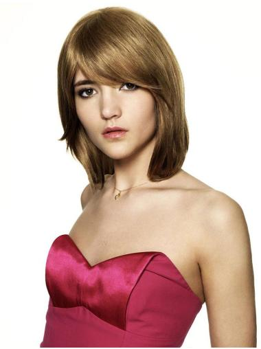 Chin Length Blonde Straight Synthetic Wigs