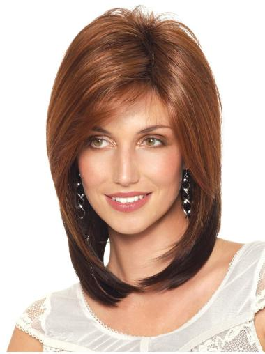 Soft Medium Brown Straight Synthetic Wigs