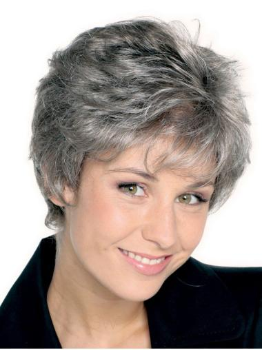 Short Straight Hand-tied Synthetic Grey Wigs