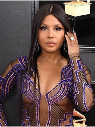 """Full Lace Remy Human Hair Straight 18"""" Long Without Bangs Top Toni Braxton Wigs"""