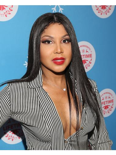 "Lace Front Remy Human Hair Straight 20"" Long Without Bangs Stylish Toni Braxton Wigs"