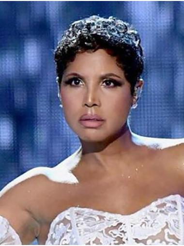 """Lace Front Remy Human Hair Curly 6"""" Cropped Boycuts Comfortable Toni Braxton Wigs"""