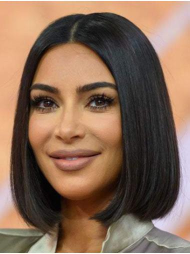 "Lace Front Remy Human Hair Straight 12"" Chin Length Bobs Fashionable Kim Kardashian Wigs"