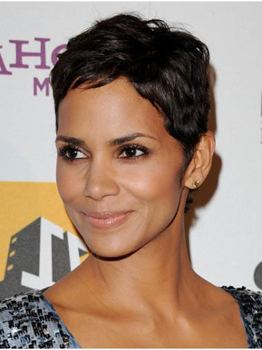 """Black Straight 6"""" Full Lace Cropped Boycuts Good Remy Human Hair Halle Berry Wigs"""