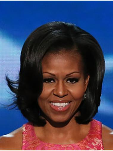 "Black Wavy 12"" Lace Front Chin Length Bobs Hairstyles Remy Human Hair Michelle Obama Wigs"