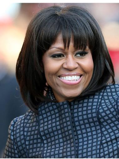 """Black Straight 12"""" Lace Front Chin Length With Bangs Popular Synthetic Michelle Obama Wigs"""