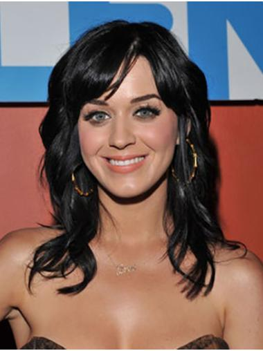 Long Lace Front Stylish Black Without Bangs Wavy Katy Perry Wigs