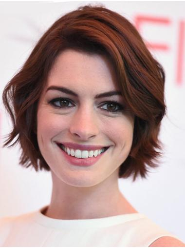 Chin Length Lace Front Popular Auburn Bobs Wavy Anne Hathaway Wigs