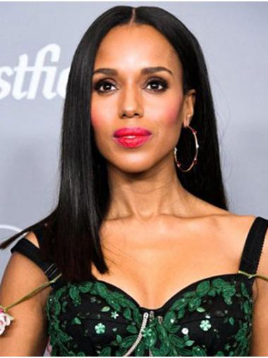 """Black Long 16"""" Straight Remy Human Hair Exquisite Without Bangs Kerry Washington Wigs"""