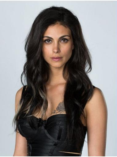 "20"" Capless Long Without Bangs Black Morena Baccarin Wigs"