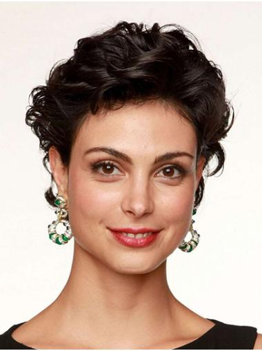 "6"" Lace Front Short Without Bangs Black Morena Baccarin Wigs"