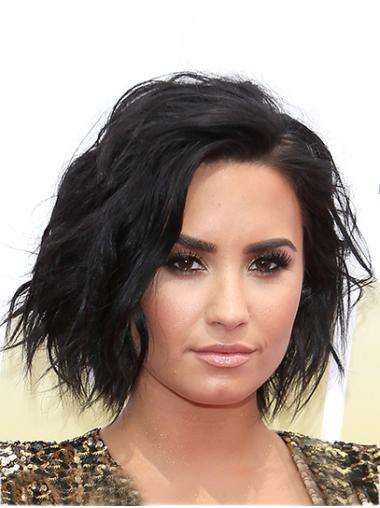"""Wavy 12"""" Lace Front Bobs Black Trendy Demi Lovato Wigs"""