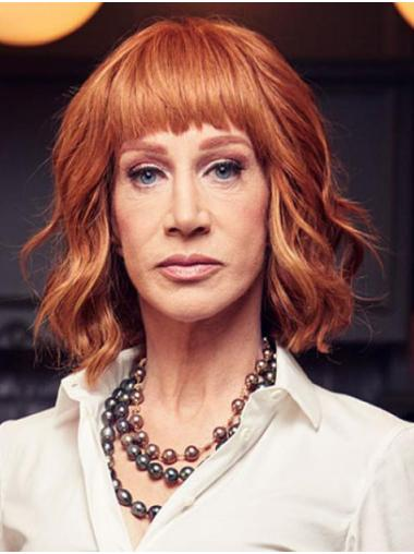 """Wavy 12"""" Lace Front With Bangs Auburn High Quality Kathy Griffin Wigs"""