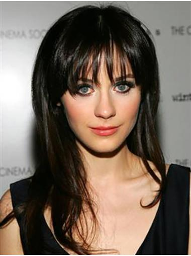 """Long Lace Front Remy Human Hair 18"""" With Bangs Online Zooey Deschanel Wigs"""