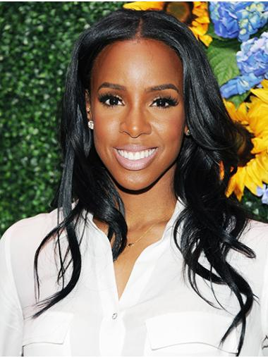 """Long Lace Front Remy Human Hair 18"""" Without Bangs Soft Kelly Rowland Wigs"""