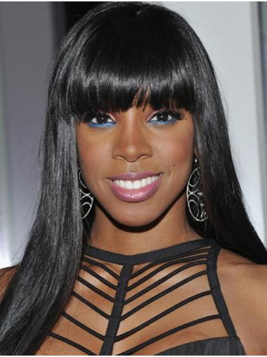 """Long Lace Front Remy Human Hair 22"""" With Bangs No-fuss Kelly Rowland Wigs"""