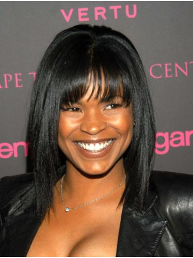 """Shoulder Length Capless Synthetic 14"""" With Bangs Good Nia Long Wigs"""