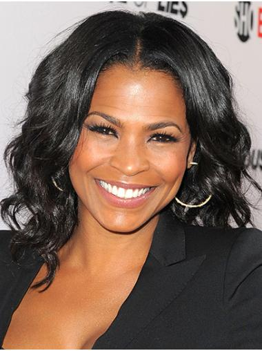 """Shoulder Length Lace Front Remy Human Hair 14"""" Without Bangs Discount Nia Long Wigs"""