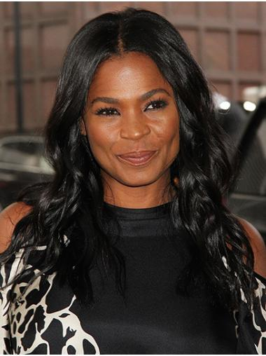 "Long Lace Front Remy Human Hair 18"" Without Bangs Popular Nia Long Wigs"