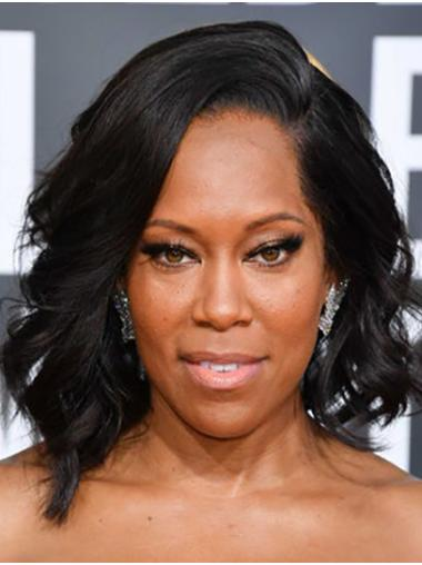 "Shoulder Length Full Lace Synthetic 14"" Without Bangs Natural Regina King Wigs"