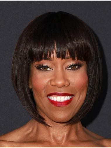 "Chin Length Capless Remy Human Hair 12"" Bobs Trendy Regina King Wigs"