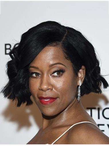 """Chin Length Lace Front Synthetic 10"""" Bobs Sleek Regina King Wigs"""