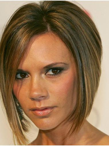 """Chin Length Lace Front Synthetic 12"""" Bobs Natural Victoria Beckham Wigs"""