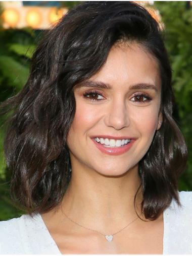 "Shoulder Length Lace Front Remy Human Hair 14"" Bobs Sleek Nina Dobrev Wigs"