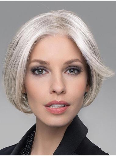 "6"" Cropped Comfortable Lace Front Straight Grey Wigs"