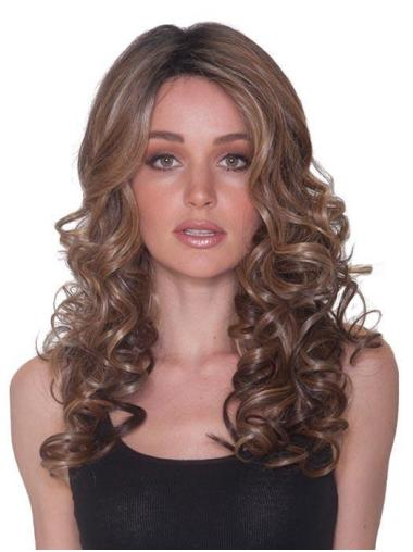 """Without Bangs 100% Hand-tied 18"""" Curly Brown Long Wigs"""