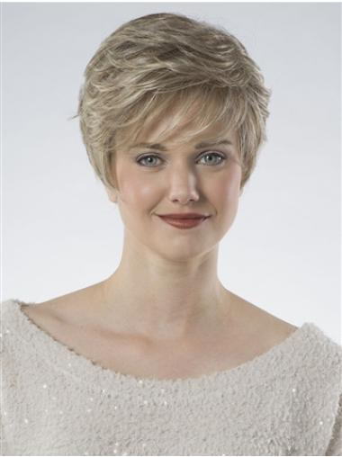 100% Hand-tied Cropped Blonde Wavy Fashion Classic Wigs