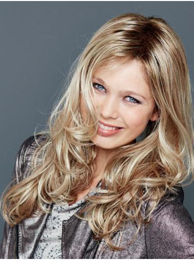 """Without Bangs Lace Front 18"""" Wavy Blonde Long Wigs"""