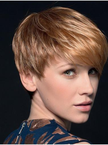 "Blonde 4"" Boycuts Cropped Top Monofilament Wigs"