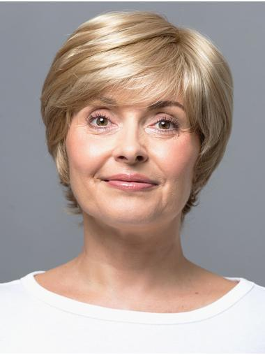 """Blonde 8"""" With Bangs Short Great Monofilament Wigs"""