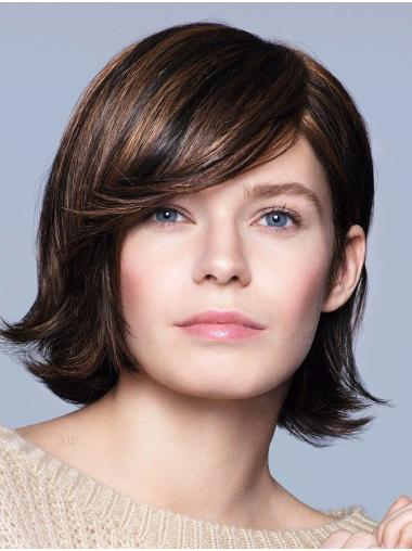 """Brown 12"""" With Bangs Chin Length Perfect Monofilament Wigs"""