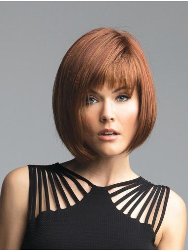 "10"" Chin Length Auburn Straight Fashionable Bob Wigs"