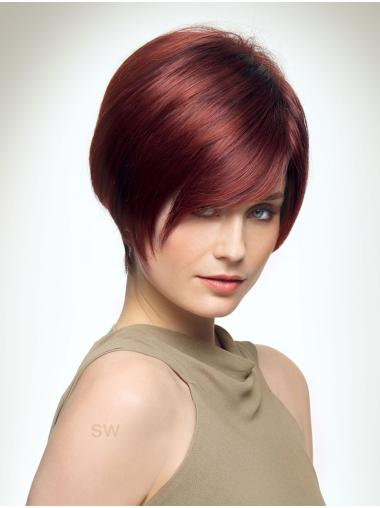"Red 8"" Boycuts Style Capless Synthetic Wigs"