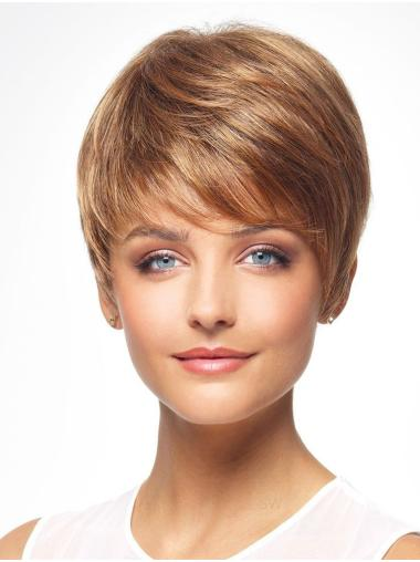 "Auburn 8"" Boycuts Cheapest Capless Synthetic Wigs"