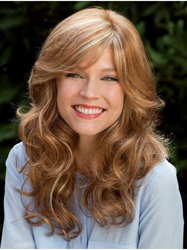 """Blonde 16"""" With Bangs Long Flexibility Monofilament Wigs"""