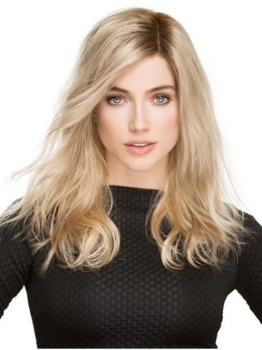 """Platinum Blonde 16"""" With Bangs Long Exquisite Monofilament Wigs"""