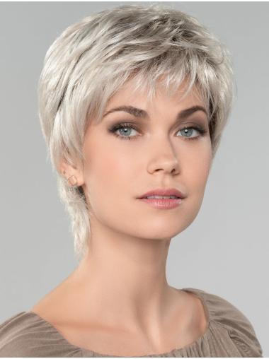 "Straight Short 8"" Capless Affordable Grey Wigs"