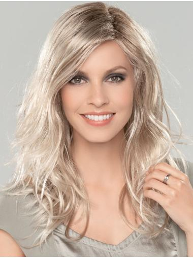 "Platinum Blonde 16"" Without Bangs Long Amazing Monofilament Wigs"
