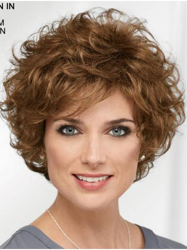 "Curly Brown Short 8"" Designed Classic Wigs"