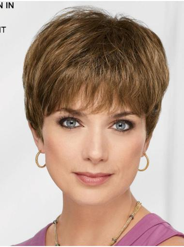 "Brown 8"" Boycuts Flexibility Capless Synthetic Wigs"
