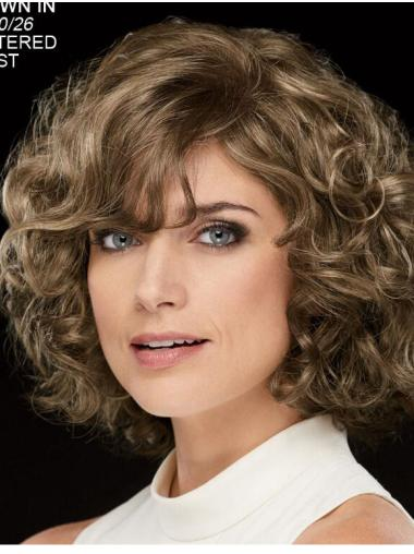 "Curly Brown Chin Length 10"" Stylish Classic Wigs"