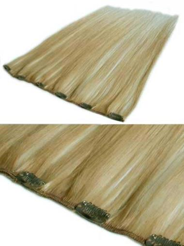 Comfortable Blonde Straight Clip in Hair Extensions