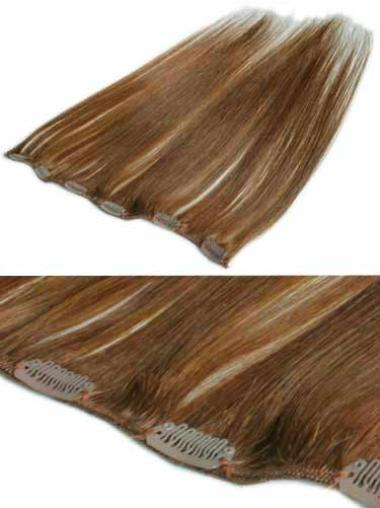Modern Brown Straight Clip in Hair Extensions