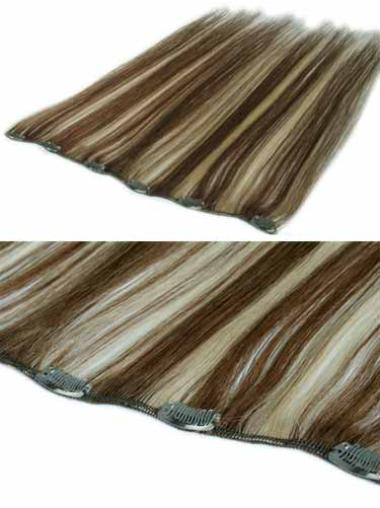 Natural Brown Straight Clip in Hair Extensions