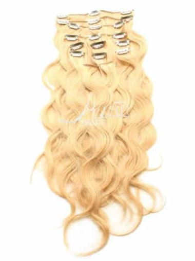 Soft Blonde Curly Clip in Hair Extensions