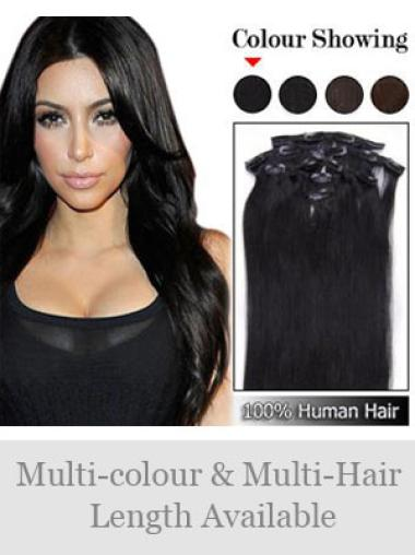 Classic Black Straight Clip in Hair Extensions